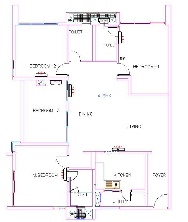Assume the 1 BHK Flat layout except the bedroom size will be less than  the standard size. What is 1 BHK  2 BHK   3 BHK  0 5 BHK  in a Flat layout    Civilology