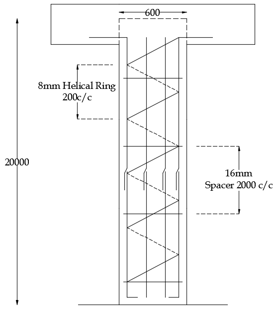 Section of pile column helical ring