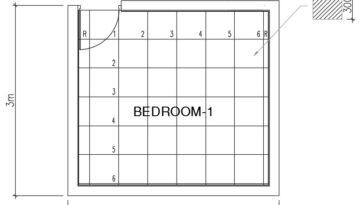 Tile Flooring Drawing (4 m X 3 m)